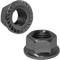 Flanged M4 Serrated wheel nuts Black