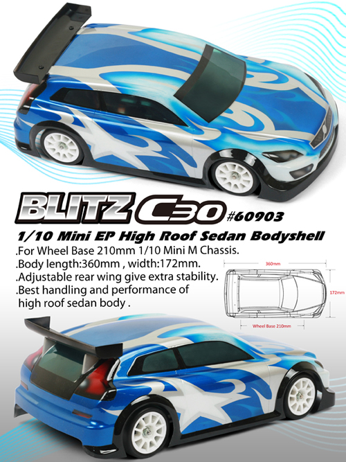 BLITZ C30 1/10  Mini EP High Roof Sedan (0.8mm)
