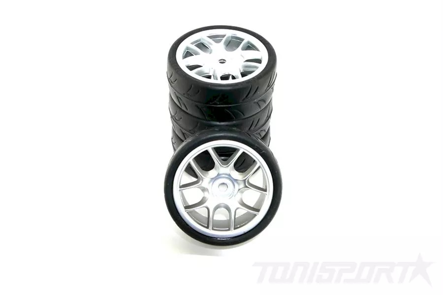 Ride 1/10 Belted Tires 24mm Pre-glued with 10 Spoke Wheel - Gray