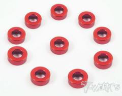 Aluminum 3mm Bore Washer 5.0mm 10pcs RED